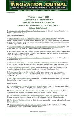 Volume 16 Issue 1, 2011 Policy Informatics